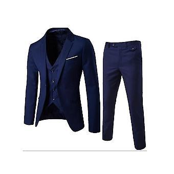 Men's 3 Pieces Suits Slim Fit Suit One Button Blazer Business Pants Suits Set