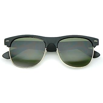 Classic Rubber Finish Half Frame  Square Lens Horn Rimmed Sunglasses 55mm