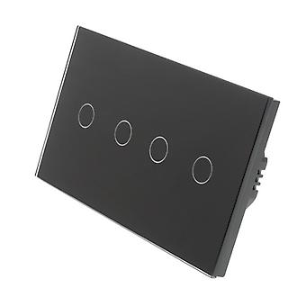 I LumoS Black Glass Double Panel 4 Gang 1 Way Touch Dimmer LED Light Switch
