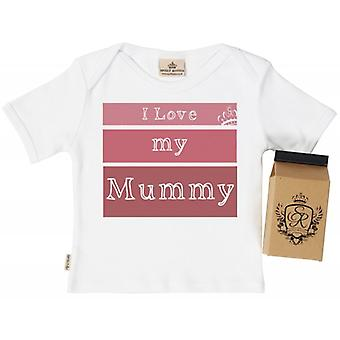 Spoilt Rotten I Love My Mummy Babys T-Shirt 100% Organic In Milk Carton