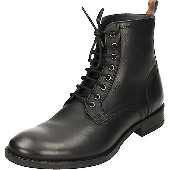 Frank Wright Birch Black Leather Lace Up Ankle Derby Boots