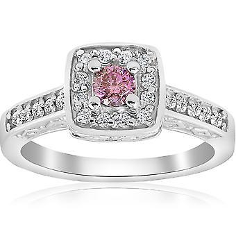 3 / 8ct розовый бриллиант подушки Halo старинный обручальное кольцо 14K Белое золото