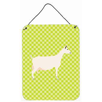 Carolines trésors BB7715DS1216 Saanen chèvre vert mur ou porte accrocher impressions