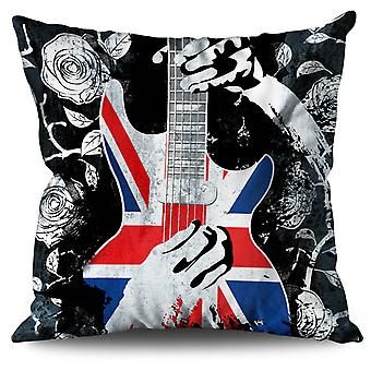 Bass Guitar Rose Flag Linen Cushion 30cm x 30cm | Wellcoda