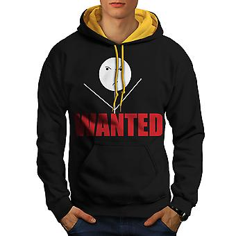 Wanted Sticks Funny Men Black (Gold Hood)Contrast Hoodie | Wellcoda