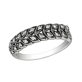 Patterned - 925 Sterling Silver Jewelled Rings - W30152x
