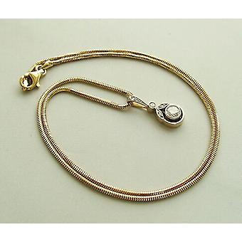 Gouden collier met diamanten art deco hanger