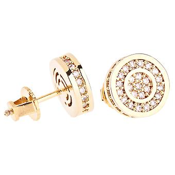 Iced out bling micro pave earrings - ROUNDS 10 mm gold