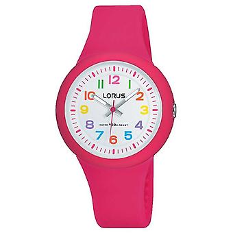 Lorus Unisex Pink Rubber Strap White Dial RRX49EX9 Watch