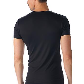 Logiciel couleur unie noire manches courtes Top Mey 42507-123 hommes