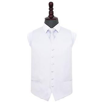 Valkoinen Plain Satiini liivi & solmio asetettu