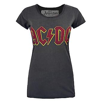 Amplified Womens/Ladies AC/DC Logo Charcoal T-Shirt