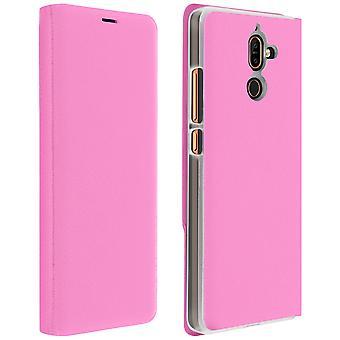 Vend bokomslag, lommebok tilfelle med stativ for Nokia 7 Plus - rosa
