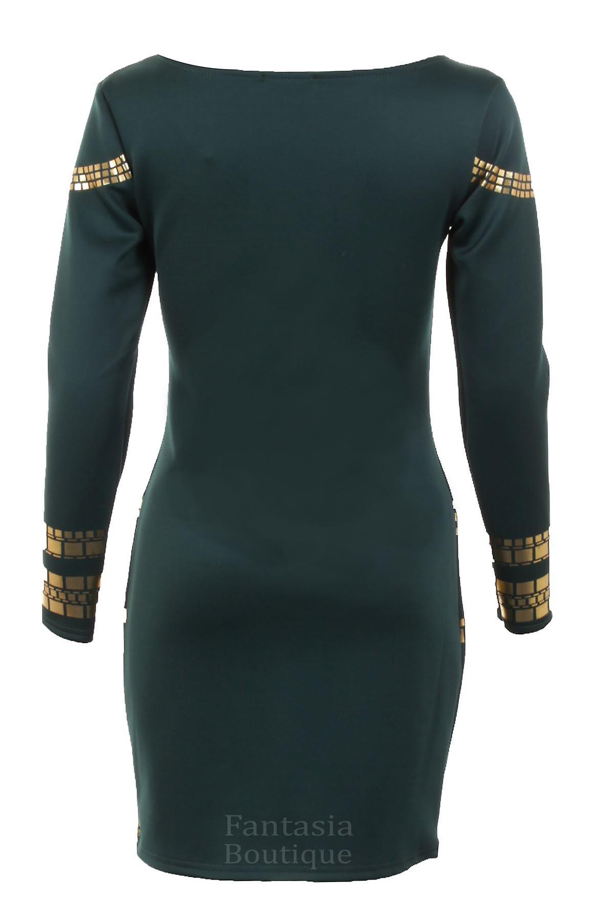 Ladies Gold Foil Tunic Celebrity Kim Bodycon Slim Fit Short Women's Party Dress