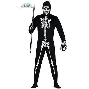 Skeleton suit Halloween horror party costume men's bones black white