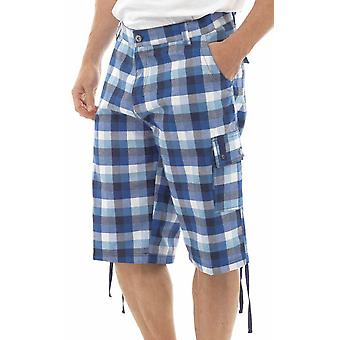Tom Franks Bold Check Print Beach Pool Swimming Cargo Knee Length Shorts