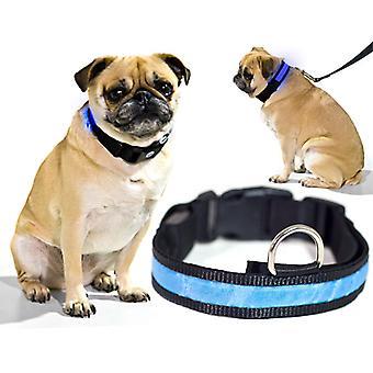 Blue LED Light Dog Collar - X-Large - Dog Pet Night Safety Fashionable Flashing Light Up Collar Nylon Large Adjustable