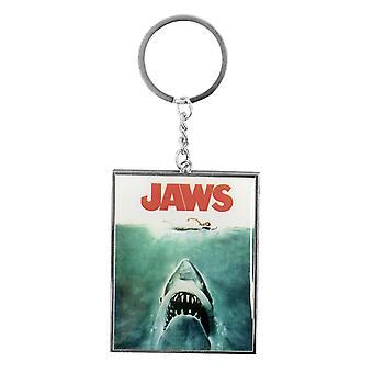 JAWS Keyring - klassieke films-the shark zilver, wit metaal, op kop kaart.