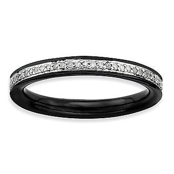 925 Sterling Sølv polert Prong sett Ruthenium plating stables uttrykk og diamanter svart belagt ring smykker Gi