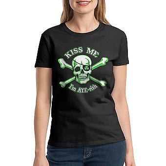 Humor Kiss Me I'm Aye-rish Irish Graphic Women's Black T-shirt
