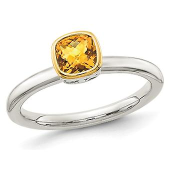 3/5 Carat (ctw) Citrine Ring in Sterling Silver with 14K Yellow Gold Acent