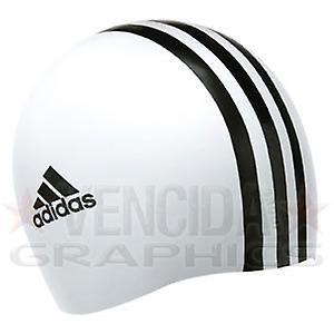 ADIDAS silicone 3 stripe swim cap [white]