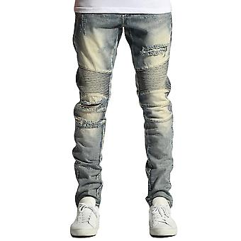 Embellish Hoppy Biker Denim Jeans in Vintage Stone Wash