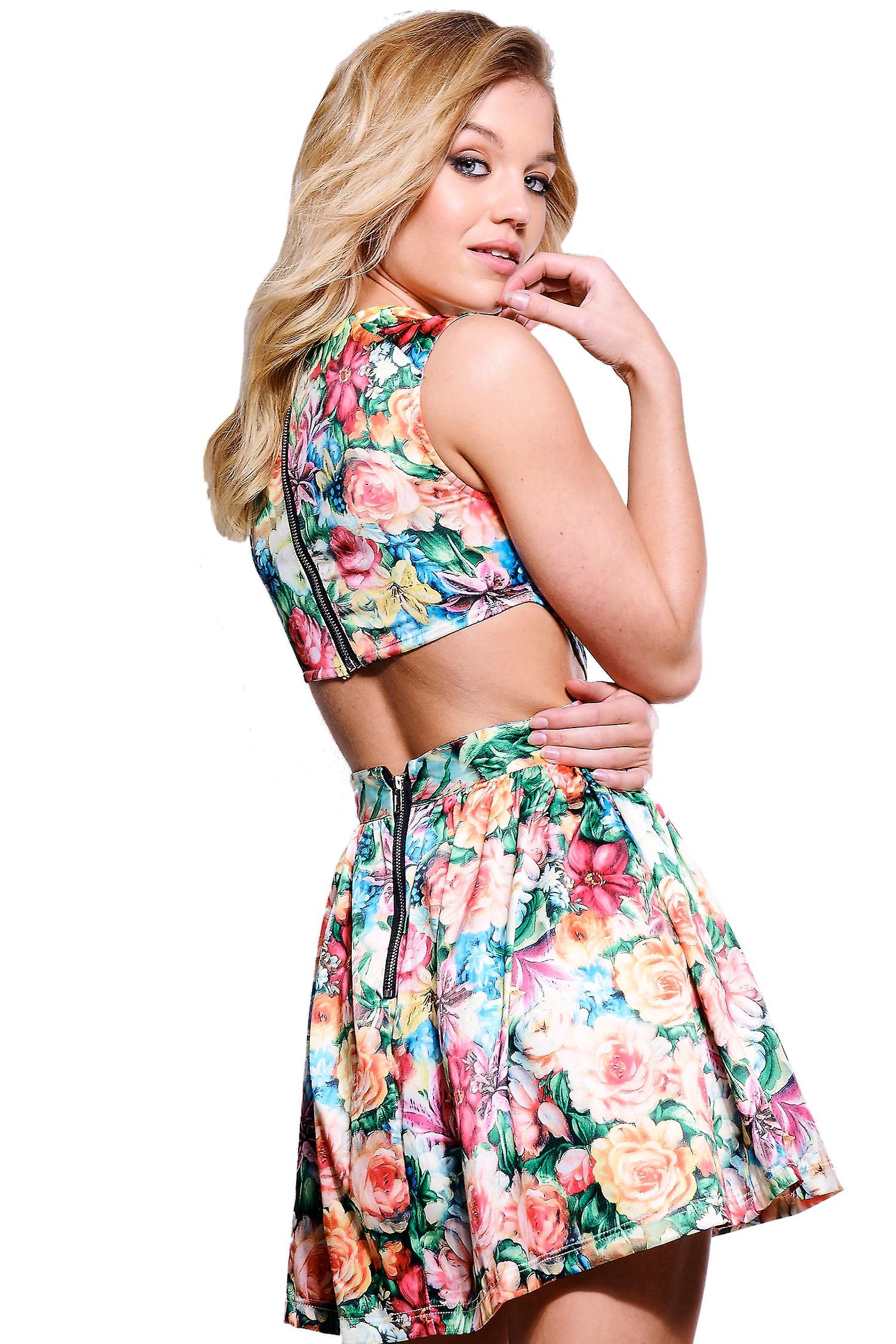 LMS Floral detalj Skater Mini kjole med kuttet ut detaljer