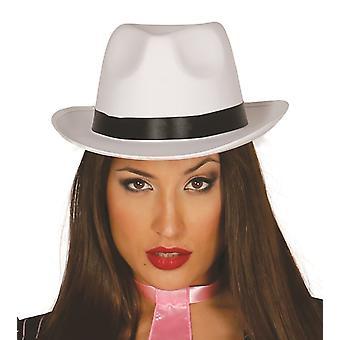Cappello Gangster in raso bianco con nastro costume accessorio