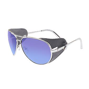 Breed Eclipse Titanium Polarized Sunglasses - Silver/Purple-Blue