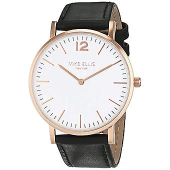 Mike Ellis New York Unisex analog quartz watch, leather strap, colour: black