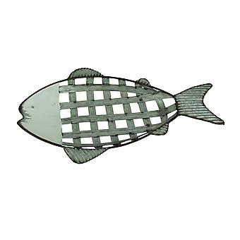 Rustic Metal Lattice Weave Fish Shaped Decorative Tray