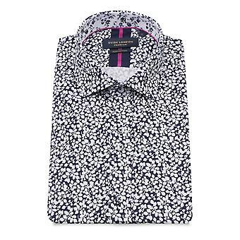 Guide London Navy Floral Print Men's Short Sleeve Shirt