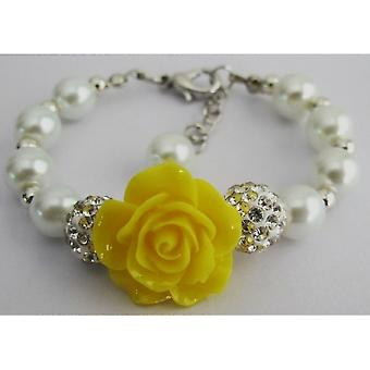 Happy Holidays Gift Yellow Flower White Pearl Bracelet