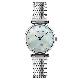 Skmei Women's Watch Silver Mother Of Pearl Mesh Strap Crystal Stones SK1223