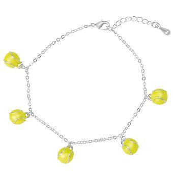 Ewige Sammlung jeder für Tennis gelb Emaille Silber Ton Charm Armband