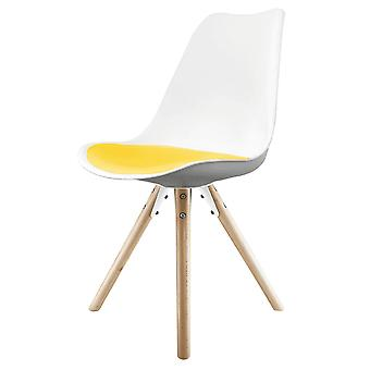 Fusion Living Eiffel Inspired White And Yellow Dining Chair With Pyramid Light Wood Legs