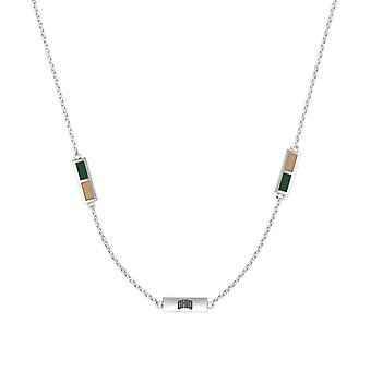 Ohio University Sterling Silver Engraved Triple Station Necklace In Green and Brown