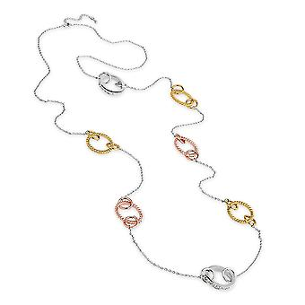 Eternal Collection Martinique Clear Crystal Three Tone Long Necklace
