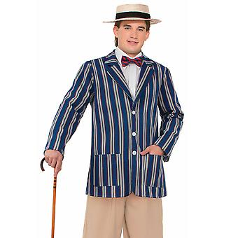 Boaters Roaring 1920s Blue Striped Old Time Victorian Mens Costume Jacket STD
