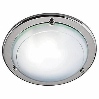 1 luz de teto nivelado claro com o difusor de vidro branco e o anel do cromo