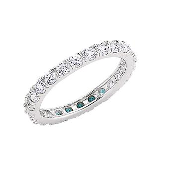 Jewelco London Rhodium Plated Sterling Silver Round Brilliant Cubic Zirconia 4 Claw Pave Eternity Ring