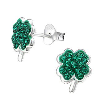 Lucky Clover - 925 Sterling Silver Crystal Ear Studs - W33065X