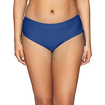 24th & Ocean Women's Plus Size High Waist Side Tie Hipster Bikini Swimsuit Bo...