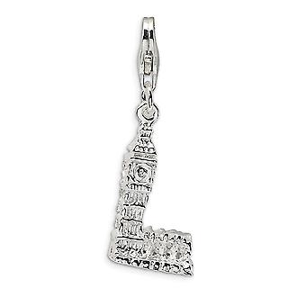 925 Sterling Silver Rhodium plated Fancy Lobster Closure 3 D Polished Big Ben With Lobster Clasp Charm Pendant Necklace