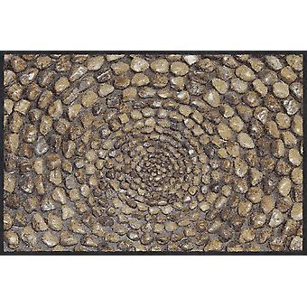 Salonloewe deurmat stenen ring natuur 50 x 75 cm wasbaar vuil mat
