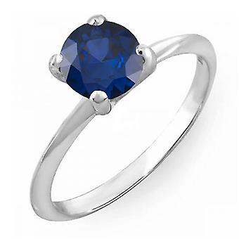 Dazzlingrock Collection 14K 7mm Round Cut Blue Sapphire Solitaire Bridal Engagement Ring, White Gold