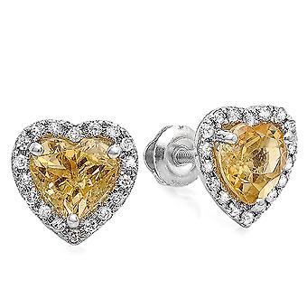 Dazzlingrock Collection 10K Heart Shape Citrine & Round Cut Diamond Ladies Halo Stud Earrings, White Gold