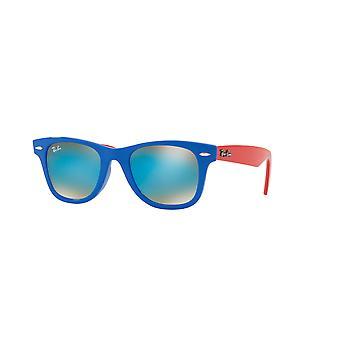 Ray-Ban Junior Wayfarer RJ9066S 7039/B7 Blue/Brown Gradient-Blue Mirror Sunglasses