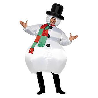 Adulte gonflable Bonhomme de neige Costume de robe de fantaisie avec le ventilateur d'auto-gonflement